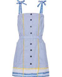 Lemlem | Blue Mwali Gauze-trimmed Striped Cotton-blend Mini Dress | Lyst