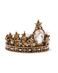 Alexander McQueen - Metallic Gold-plated, Swarovski Crystal And Faux Pearl Ring - Lyst