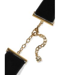 Saint Laurent - Black Velvet, Gold And Silver-tone And Crystal Choker - Lyst