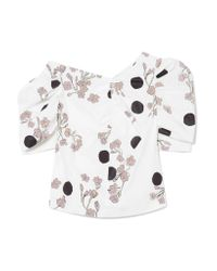 Isa Arfen One-shoulder Ruched Printed Cotton-poplin Blouse White