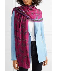 Etro Pink Printed Cashmere Scarf