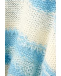 Acne Blue Distressed Striped Open-knit Sweater