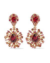 Oscar de la Renta | Metallic Gold-plated Swarovski Crystal Clip Earrings | Lyst