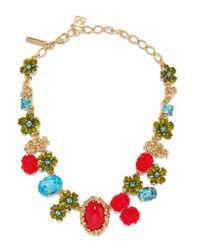 Oscar de la Renta | Metallic Gold-plated, Swarovski Crystal And Resin Necklace | Lyst