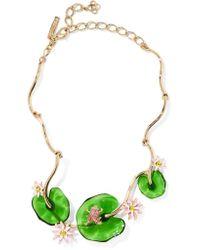 Oscar de la Renta | Metallic Gold-tone, Resin And Swarovski Crystal Necklace | Lyst
