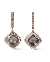 Larkspur & Hawk | Metallic Caprice Cushion 14-karat Rose Gold, Diamond And Quartz Earrings | Lyst