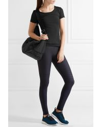 Adidas By Stella McCartney Black Faux Leather-trimmed Printed Shell Bag