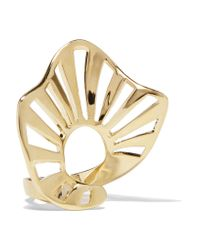 Arme De L'Amour - Metallic Ruffle Stripe Gold-plated Ring - Lyst
