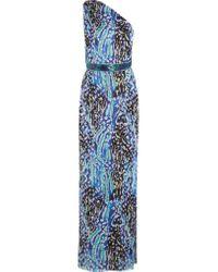Matthew Williamson | Blue Akita One-shoulder Belted Printed Silk-chiffon Gown | Lyst