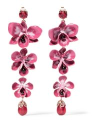 Etro | Pink Gold-plated, Enamel, Resin And Crystal Earrings | Lyst