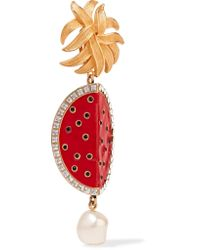 Dolce & Gabbana - Metallic Gold-tone, Faux-pearl And Crystal-embellished Resin Clip Earrings - Lyst