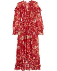 Zimmermann - Red Corsair Ruffled Floral-print Crepon Midi Dress - Lyst