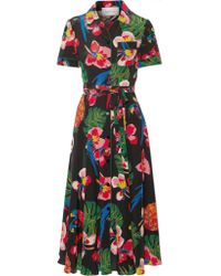 Valentino   Black Printed Silk Crepe De Chine Shirt Dress   Lyst