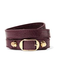 Balenciaga | Purple Arena Textured-leather And Gold-tone Bracelet | Lyst