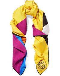 Loewe   Yellow Striped Silk-twill Scarf   Lyst