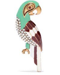 Marc Jacobs - Green Parrot Burnished Gold-tone, Swarovski Crystal And Enamel Brooch - Lyst