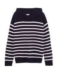 Vince | Blue Hooded Striped Cashmere Sweater | Lyst