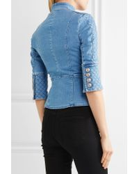 Balmain | Blue Quilted Double-breasted Denim Jacket | Lyst