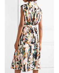 Burberry Green Sacha Belted Printed Silk-twill Midi Dress
