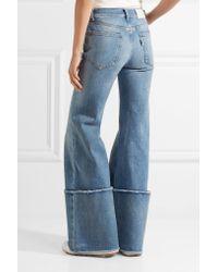 Off-White c/o Virgil Abloh Blue Frayed Mid-rise Wide-leg Jeans
