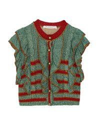 Philosophy Di Lorenzo Serafini - Blue Cropped Metallic Knitted Sweater - Lyst
