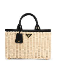 Prada   Natural Midollino Large Leather-trimmed Canvas And Wicker Tote   Lyst