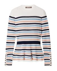 Lela Rose Pink Striped Ribbed Stretch-knit Peplum Sweater