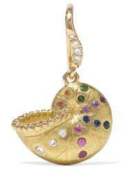 Aurelie Bidermann - Metallic Nautilus Keeper 18-karat Gold Multi-stone Earring - Lyst