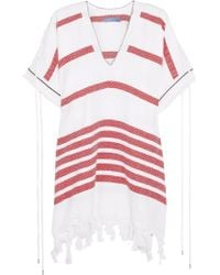 Koza | Red Melissa Fringe-trimmed Striped Cotton Kaftan | Lyst