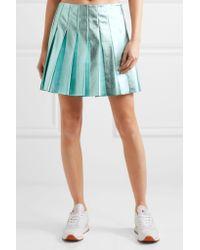 Miu Miu | Blue Pleated Metallic Leather Mini Skirt | Lyst