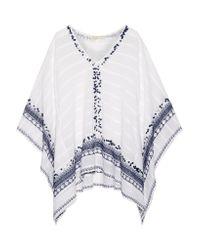 MICHAEL Michael Kors White Embellished Cotton-gauze Poncho