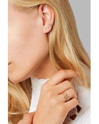 Wwake Metallic Two Step Gold Opal Earrings