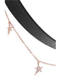 Diane Kordas | Metallic 18-karat Rose Gold, Leather And Diamond Choker | Lyst