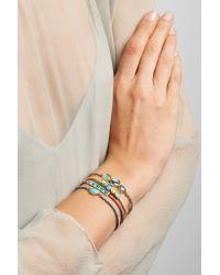 Brooke Gregson | Metallic Triple Orbit 18-karat Gold, Sapphire And Emerald Bracelet | Lyst