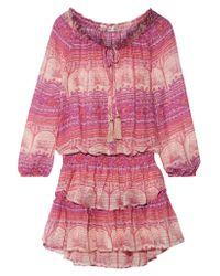LoveShackFancy Purple Popover Printed Silk-georgette Mini Dress