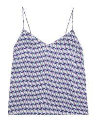 Paloma Blue Blue Capri Printed Silk-satin Camisole