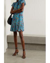 10 Crosby Derek Lam Blue Edith Ruffled Pussy-bow Floral-print Fil Coupé Crepe De Chine Mini Dress