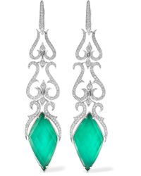 Stephen Webster | Multicolor Belle Epoque 18-karat White Gold, Agate And Diamond Earrings | Lyst