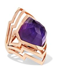 Stephen Webster | Purple Lady Stardust 18-karat Rose Gold, Amethyst And Mother-of-pearl Ring | Lyst