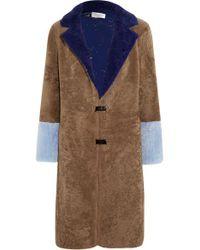 Saks Potts Brown Febbe Color-block Shearling Coat