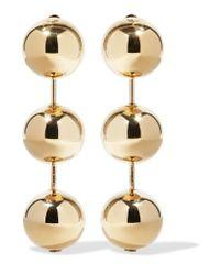Balenciaga - Metallic Gold-tone Clip Earrings - Lyst