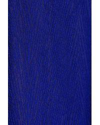 Akris Blue Pleated Lace Maxi Dress