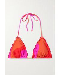 ViX Pink Ripple Bedrucktes Triangel-bikini-oberteil Mit Neckholder
