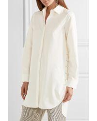 Max Mara White Oversized Lace-up Cotton-poplin Shirt