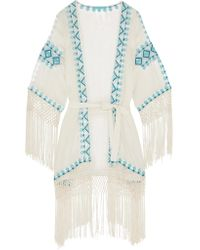 Melissa Odabash - White Dana Embroidered Voile Robe - Lyst