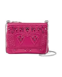 Christian Louboutin | Pink Triloubi Studded Embroidered Leather Shoulder Bag | Lyst
