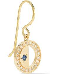 Andrea Fohrman - Metallic Crescent Moon 18-karat Gold, Sapphire And Diamond Earrings - Lyst