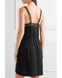 Skin Black Lace-trimmed Stretch-jersey Chemise