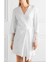 Hanro | White Anna Embroidered Tulle-paneled Cotton-jersey Robe | Lyst