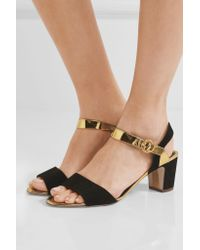 Rupert Sanderson Multicolor Pythia Suede And Mirrored-leather Sandals